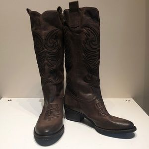 Grey Mer Made in Italy Brown Leather Cowboy Boot